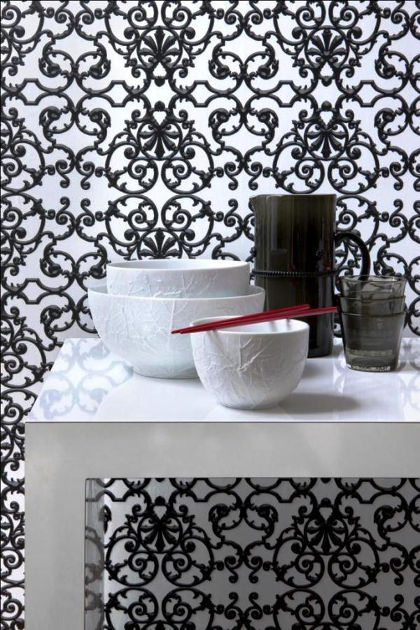 черно-белые обои для кухни фото