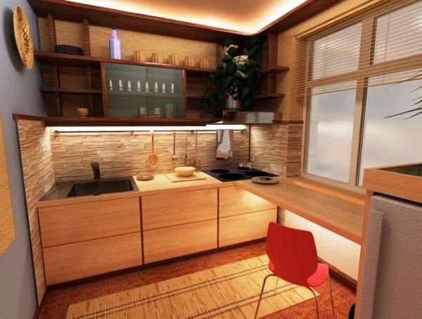 как расширить пространство на кухне